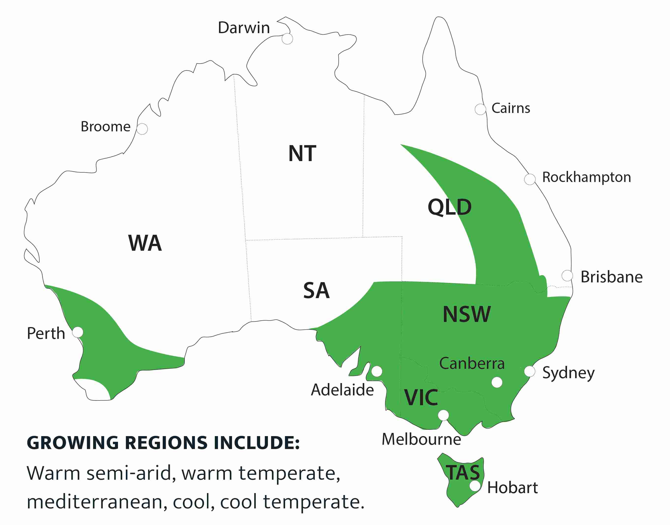 Map of suitable areas for growing.