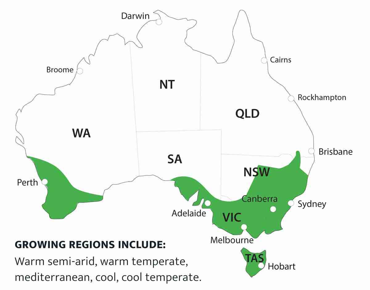 fruit tree growing suitable map Australia